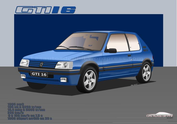 205 GTI 1,9 16 bleu miami blog